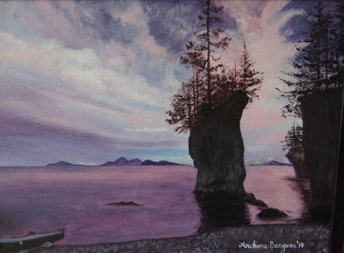 seaside,cliff,landscape,sunset,skyline,Solitude,ART_2109_21266,Artist : Archana Bangera,Acrylic