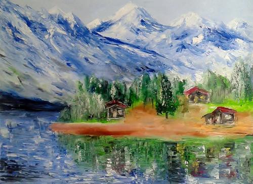 himalayas, mountains, oil, painting,Himalayas,ART_1883_21272,Artist : KIRAN BABLESHWAR,Oil