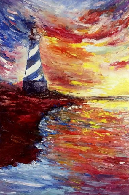 lighthouse, sea, sky,Lighthouse,ART_1883_21271,Artist : KIRAN BABLESHWAR,Oil