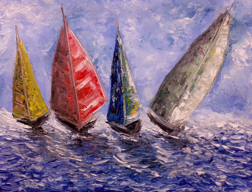boats, racing, sea, oil, painting,Boats,ART_1883_21270,Artist : KIRAN BABLESHWAR,Oil
