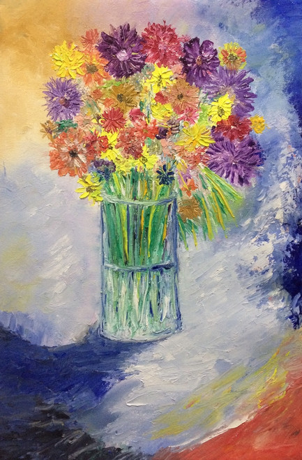 flowers, oil, painting, glass, colourful,Flowers in a Glass of water,ART_1883_21269,Artist : KIRAN BABLESHWAR,Oil