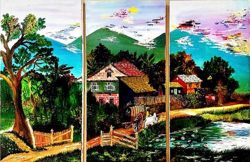 Nature, Village Life, lake,Quiet Transition,ART_2427_21276,Artist : Sayali Patil,Oil