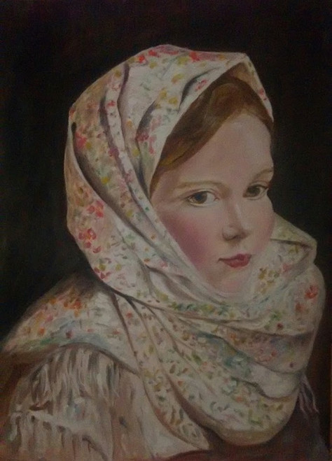 Young girl, century, old, portrait, masterpiece, reproduction, oil on canvas,Portrait--Young girl in a shawl,ART_2586_19074,Artist : MALINI MENON,Oil