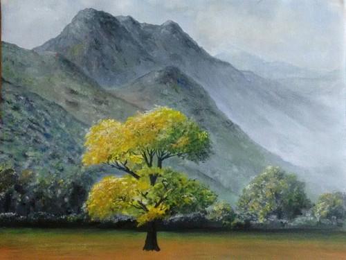 Autumn, Fall, Yellow, Mountains, Nature, Tranquility, Colour, Oil on canvas,Silent Mountains-Beginning of Autumn,ART_2586_19073,Artist : MALINI MENON,Oil