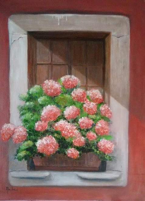 Flowers, Pink, Spring, Fresh, Oil on canvas, Nature, Floral,Floral - Pink Flowers-Freshness of Spring,ART_2586_19068,Artist : MALINI MENON,Oil