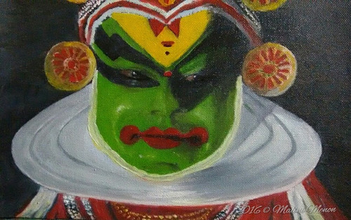 Kathakali, Oil on canvas, Dance, Kerala, Traditional, Green, Traditional,Kerala art form-Kathakali,ART_2586_19067,Artist : MALINI MENON,Oil