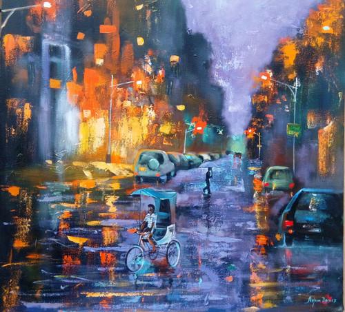 black,blue,grey,white ,Rainy Day 2,ART_82_17611,Artist : Arjun Das,Acrylic
