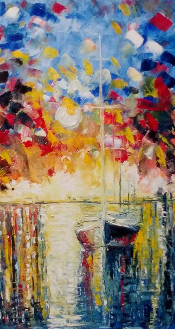 oil, canvas, painting, bright, positive, beautiful,Pier and Boat,ART_1883_15314,Artist : KIRAN BABLESHWAR,Oil
