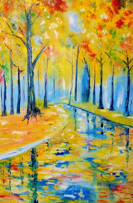 bright, oil, forest, canvas, painting, original,Summer Woods,ART_1883_15313,Artist : KIRAN BABLESHWAR,Oil
