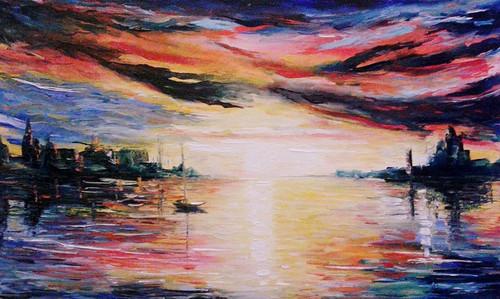 sky, sea, oil, canvas, painting, seascape,Overcast Sky,ART_1883_15312,Artist : KIRAN BABLESHWAR,Oil