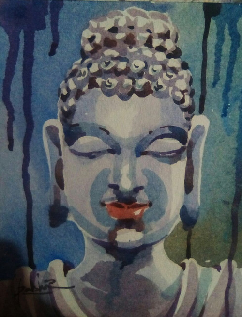 God, Buddha, religious,Gift,Buddha,ART_3154_21354,Artist : Rasheed P U,Water Colors
