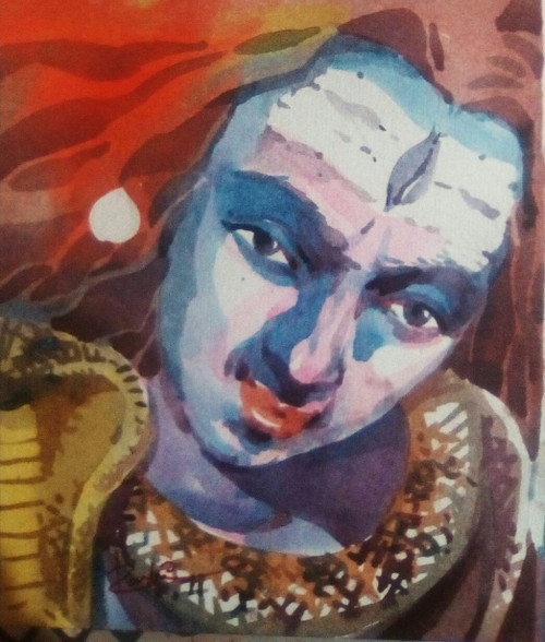 Shiva, Bholenath, God Gift ,Religious,Lord Shiv,ART_3154_21353,Artist : Rasheed P U,Water Colors