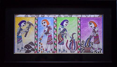 Madhubani, Rural, Rustic, Ancient, Agrarian, Egyptian, Kalamkari,Glimpses of Past,ART_128_21338,Artist : Sreyasi Sinha,Mixed Media