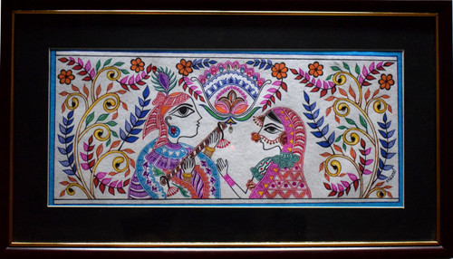 Radha, Krishna, Kalamkari, Madhubani,Radha Krishna,ART_128_21336,Artist : Sreyasi Sinha,Ink
