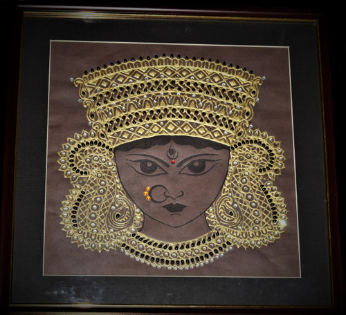 God, Goddess, Durga, Stone-studded, Religious,Maa Durga,ART_128_21334,Artist : Sreyasi Sinha,Mixed Media