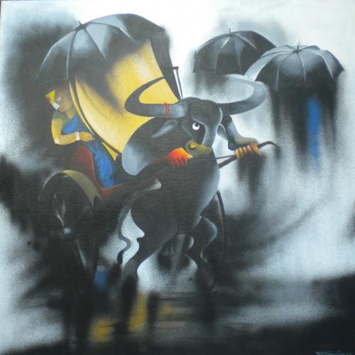 bull, acrylic,,rainy day,ART_1770_21331,Artist : UTTAM MANNA,Acrylic