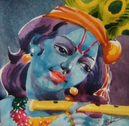 Krishna , Lord God Religious, Gift,Lord Krishna,ART_3154_21347,Artist : Rasheed P U,Water Colors