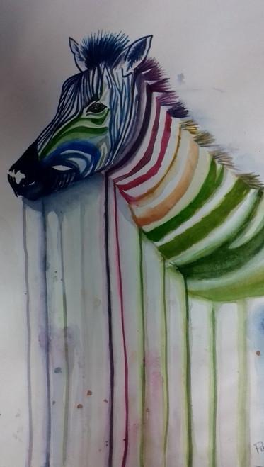ZEBRA,ABSTRACT ZEBRA,ART_3095_21137,Artist : PUSPITA CHAKRABORTY,Water Colors