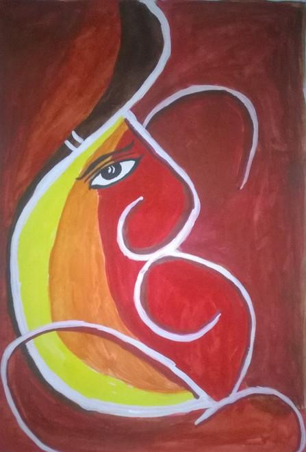 Lord Ganesha Water Colour Painting.,Lord Ganesha,ART_3114_21368,Artist : Debasree Chatterjee,Water Colors