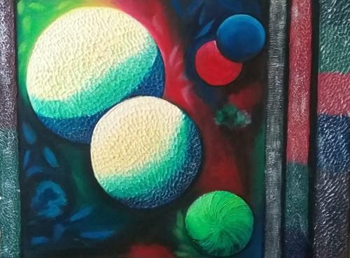 planets with texture,planets,ART_3194_21360,Artist : ANURADHA KULKARNI,Acrylic