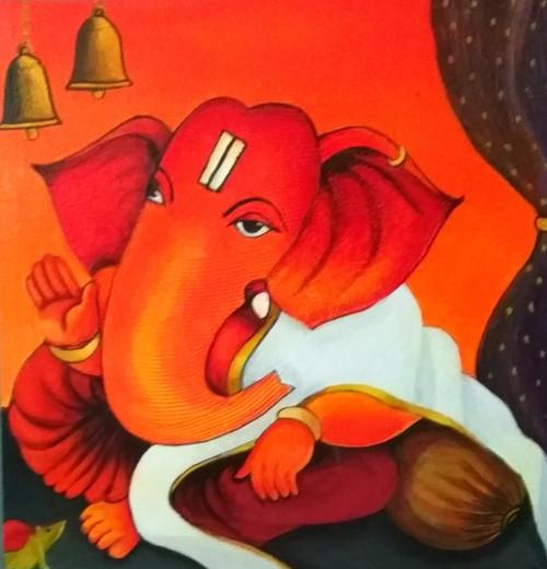 Ganesha,GANESHA,ART_3194_21356,Artist : ANURADHA KULKARNI,Acrylic
