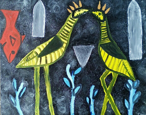 Abstract ,birds, fish, figurative, modern,,Dark Destination ,ART_2314_21350,Artist : Tanuj Swarnakar,Oil