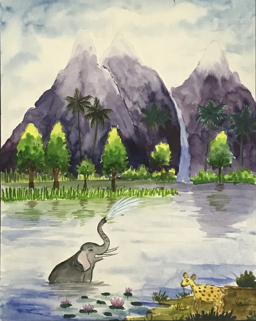 Elephant playing in water surrounded by mountains and water fall,Elephant playing in water,ART_2030_21396,Artist : Shunmuga Priyaa M,Water Colors