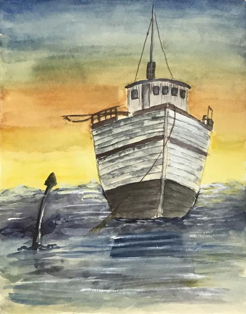 Ship with anchor in sea,Ship with anchor ,ART_2030_21394,Artist : Shunmuga Priyaa M,Water Colors