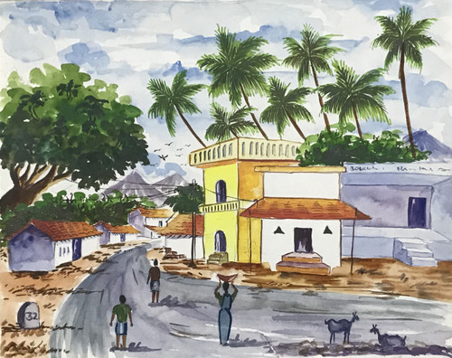 Scene from a busy state highway in south India with coconut trees and houses at backdrop,State highway in South India ,ART_2030_21393,Artist : Shunmuga Priyaa M,Water Colors
