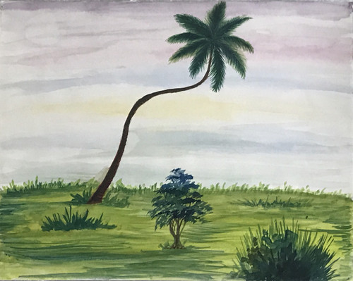 A single coconut tree standing lonely in a walkway,A Lonely tree,ART_2030_21392,Artist : Shunmuga Priyaa M,Water Colors