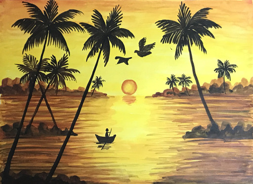 Sunset with backdrop of coconut trees and sea,Sunset ,ART_2030_21391,Artist : Shunmuga Priyaa M,Water Colors