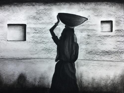 Indian, rural, lady, village, charcoal,Rural india,ART_3171_21364,Artist : Pooja Singh Srivastava,Charcoal