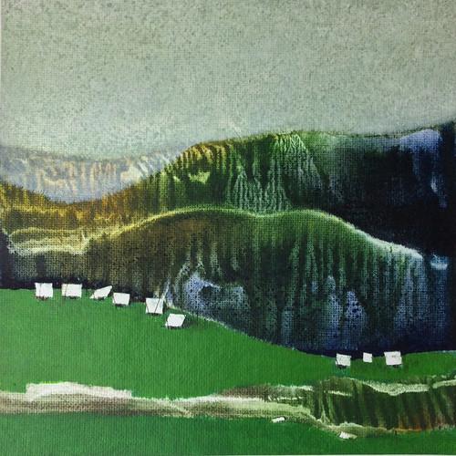 Nature, landscape, mountains, moody cloud, cloud, Hills, forest, village ,Just a few years ago  4,ART_590_21431,Artist : Sharath Kumarl,Mixed Media