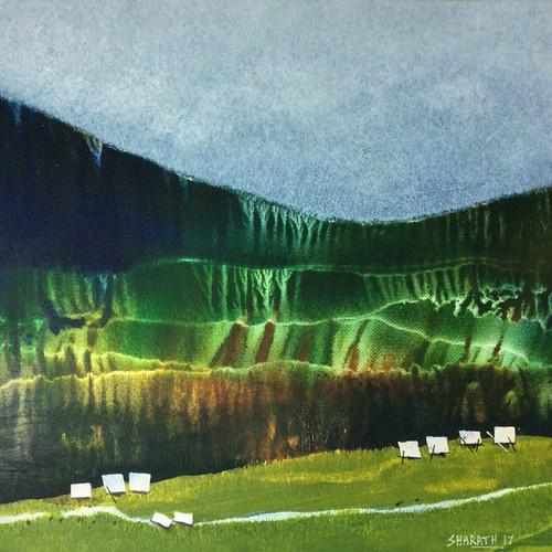 Nature, landscape, mountains, moody cloud, cloud, Hills, forest, village ,Just a few years ago  3,ART_590_21430,Artist : Sharath Kumarl,Mixed Media