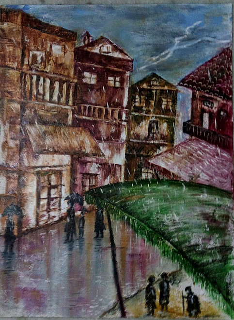 Old era with wet look,Past erawet cityscape,ART_2705_21414,Artist : Suneel Nijwala,Oil
