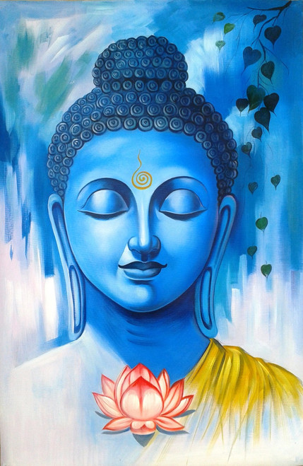 Great Buddha01 - 24in X 36in,ART_RAJJUP1_2436,Acrylic Color,Canvas,Artist Rajesh Kundhia ,God,Buddha,Blue Buddha,Peace,Meditation,Blue Background,Museum Quality 100% Handpainted - Buy painting Online in India