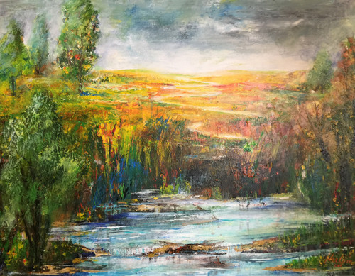 Landscape ,handmade abstract landscape knife painting,ART_1842_21510,Artist : Neelam Sharma,Acrylic