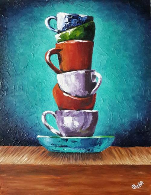 Stack, Cups, Saucer,A Stack of 6 Cups,ART_2525_21516,Artist : PANKTI JAIN,Oil