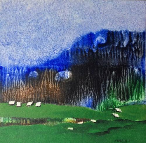 Nature, landscape, mountains, moody cloud, cloud, Hills, forest, village ,Just a few years ago  5,ART_590_21497,Artist : Sharath Kumarl,Mixed Media