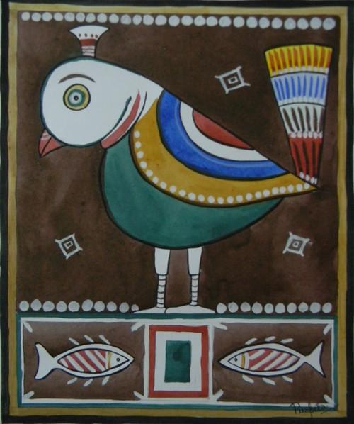 JAMINI ROY,JAMINI ROY STYLE BIRD PAINTING,ART_3095_21478,Artist : PUSPITA CHAKRABORTY,Water Colors