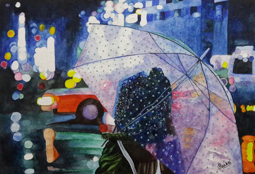 Girl, Umbrella, Night, Street, Women ,A girl with umbrella on street at night,ART_2525_20920,Artist : PANKTI JAIN,Water Colors