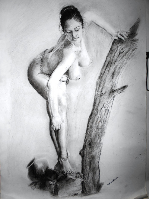 NUDE,- a woman,ART_342_8126,Artist : Joydeep Bhowmik,Pencil