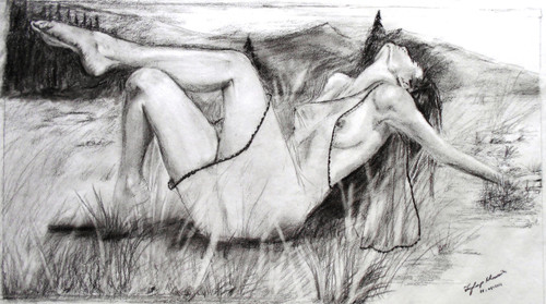 NUDE,dreaming18 x 10 - dreaming,ART_342_7122,Artist : Joydeep Bhowmik,Pencil