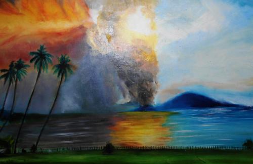 LANDSCAPE,volcanic eruption,ART_342_6975,Artist : Joydeep Bhowmik,Oil