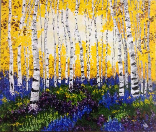 Yellow , trees , flowers , floral , birches , forest , jungle , bright painting , textured art , ,yellow birches30x35,ART_1000_6921,Artist : Shilpi Patel,Acrylic