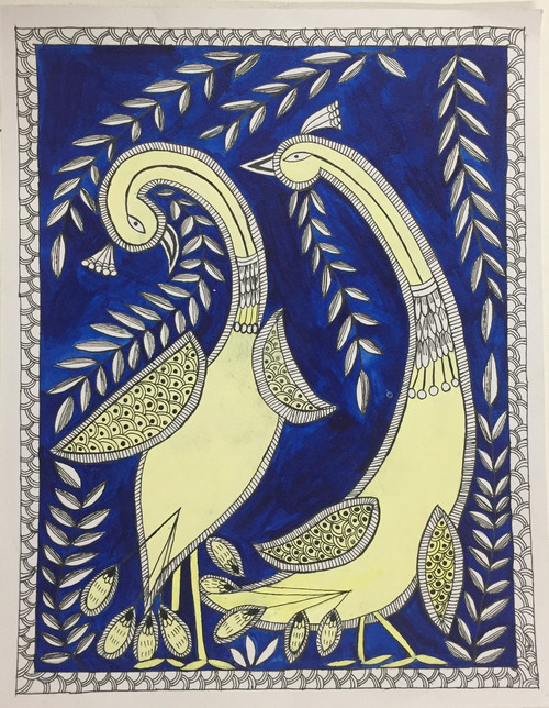 Dancing; Peacock; Madhubani; Abstract,Hand Painted Dancing Peacock in Madhubani Style,ART_3190_21576,Artist : Anjali Gupta,Acrylic