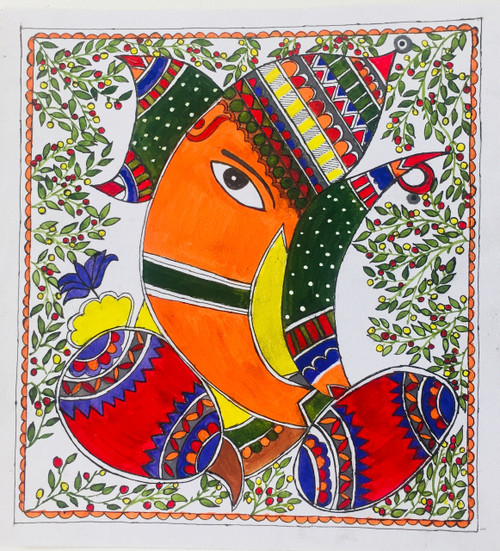 Ganesha, Madhubani, Abstract, Peace ,Handpainted Abstract Ganesha in Madhubani Style,ART_3190_21571,Artist : Anjali Gupta,Acrylic