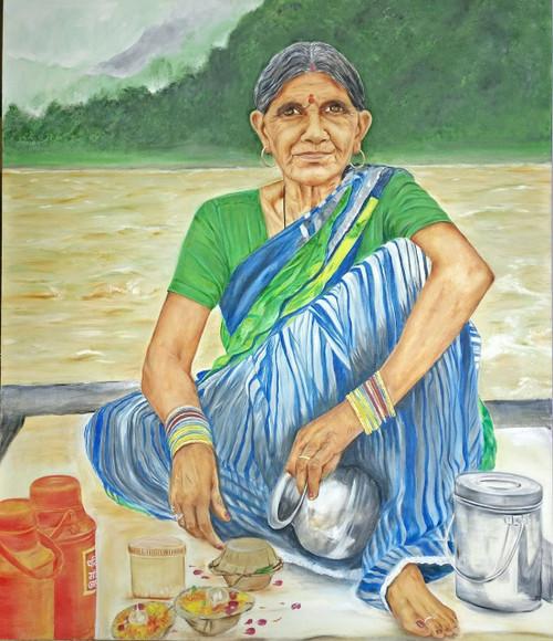 Old Lady,Flowers,River,Mountains,Ganga,Devotional,Vessel,Contentment,Lady in Rishikesh,ART_3240_21592,Artist : Anita Choubey,Oil