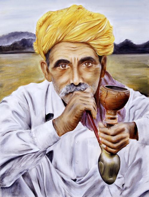 Man, Hukka, Village, Farmer, Rajsthani, Turban, Contentment, Rural,The Man with Hukka,ART_3240_21590,Artist : Anita Choubey,Oil