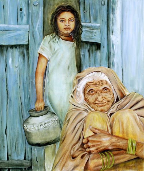 Village,Old Lady,Girl,Generations,Happiness,Door,Vessel,Rural,Generations,ART_3240_21586,Artist : Anita Choubey,Oil